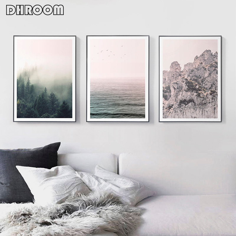 Nordic Nature Panorama Wall Artwork Mountains Posters Print Forest Ocean Canvas Portray Trendy Ornament Wall Image Dwelling Decor Portray & Calligraphy, Low-cost Portray & Calligraphy, Nordic Nature Panorama Wall...