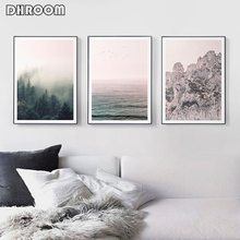 Nordic Nature Landscape Wall Art Mountains Posters Print Forest Ocean Canvas Painting Modern Decoration Picture Home Decor