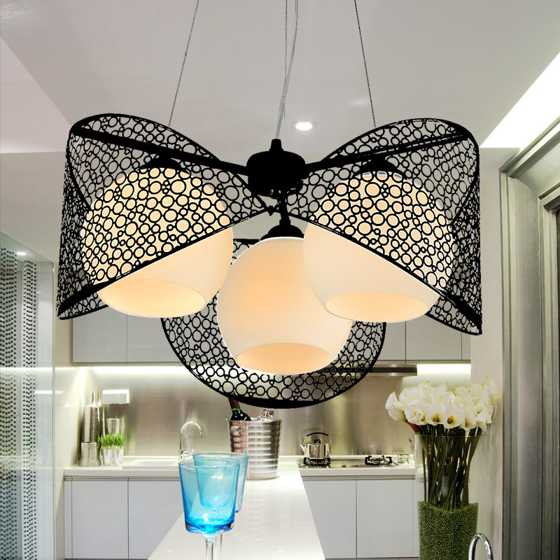 Dining Room Hollow out Iron Pendant Light 3 heads Glass Lampshade Kitchen Room Pendant Lighting