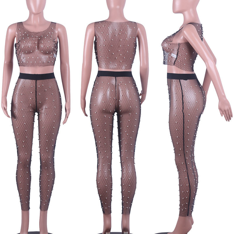 MUXU black sexy transparent 2 piece set women Gauze Pearl Vest two piece set top and pants Suit No Contain Underwear cropped in Women 39 s Sets from Women 39 s Clothing
