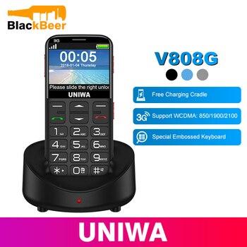 Teléfono Móvil ruso UNIWA V808G con teclado 3G WCDMA, linterna fuerte para ancianos, teléfono móvil grande SOS con botón pulsador para hombre mayor