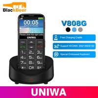 UNIWA V808G Del Telefono Mobile Tastiera Russa 3G WCDMA Del Telefono Forte Torcia di Alto Livello Cellulare Anziani Grande SOS Push-Button telefono Vecchio Uomo