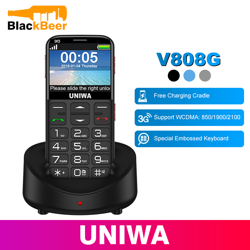 UNIWA V808G Mobile Phone Russian Keyboard 3G WCDMA Phone Strong Torch Senior Cellphone Elderly Big SOS Push-Button Phone Old Man