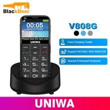 Uniwa V808G Mobiele Telefoon Russische Toetsenbord 3G Wcdma Telefoon Sterke Torch Senior Mobiel Ouderen Grote Sos Drukknop telefoon Oude Man