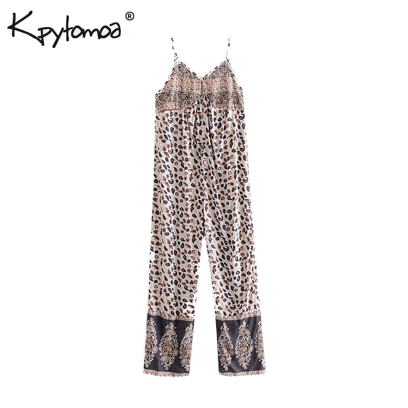 Boho Chic Summer Vintage Leopard Print   Jumpsuits   Women 2019 Fashion Backless Sleeveless Beach Ladies Playsuits Body Femme