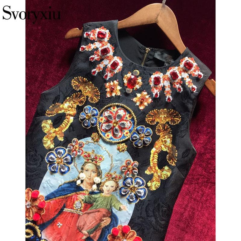 Svoryxiu Vintage noir Mini robe femmes sans manches luxueux diamants notre dame imprimer dames fête piste robe 2018 - 3