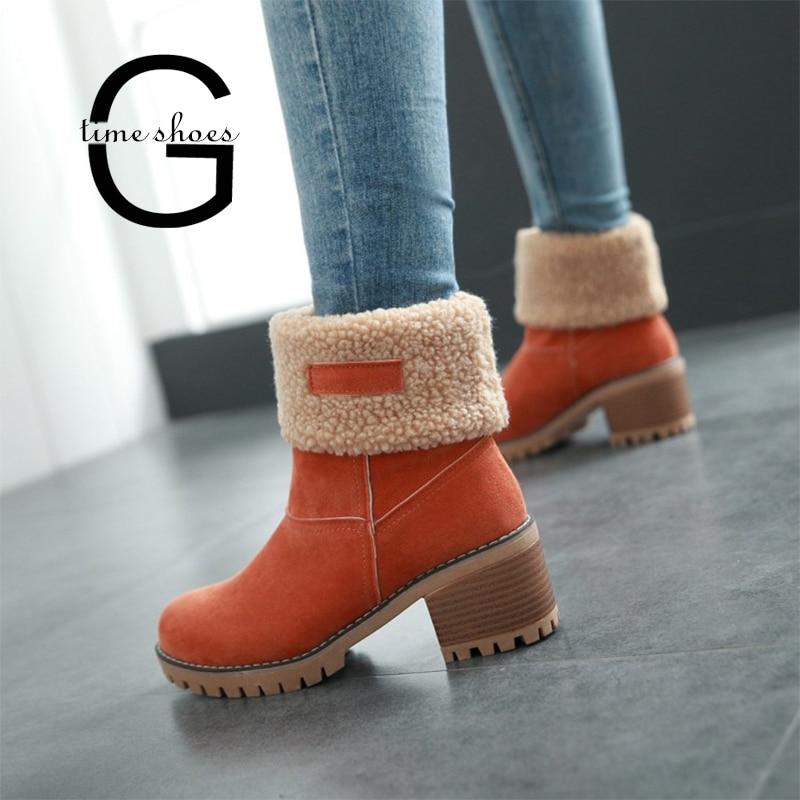 Winter Plush Warm Women Boots Women Square Heel Ankle Snow Boots Ladies Platform Artificial Fur Female Casual Shoes SE619