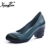 Sheepskin Women Pumps Pointed Toe Thick Heel Blue Elegant Ladies Shoes Vintage Handmade High Heels 6cm Female Shoes Xiangban