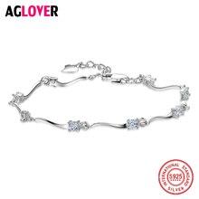 Authentic New Brand Women Strand Bracelets 925 Sterling Silver CZ Crystal Charm Bracelet For Wedding Jewelry Gift