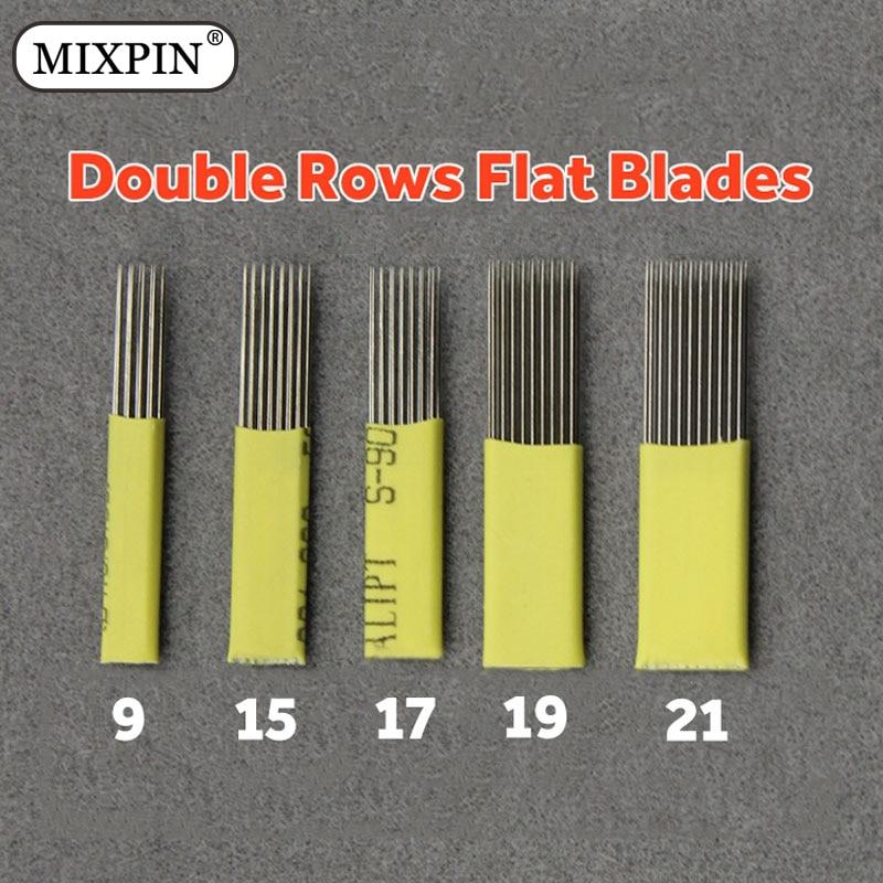 100pcs 9/15/17/19/21Pin Microblading Shading Blades Tattoo Needles DOUBLE ROW Microblading Needles Flat Needle For Fog Brow