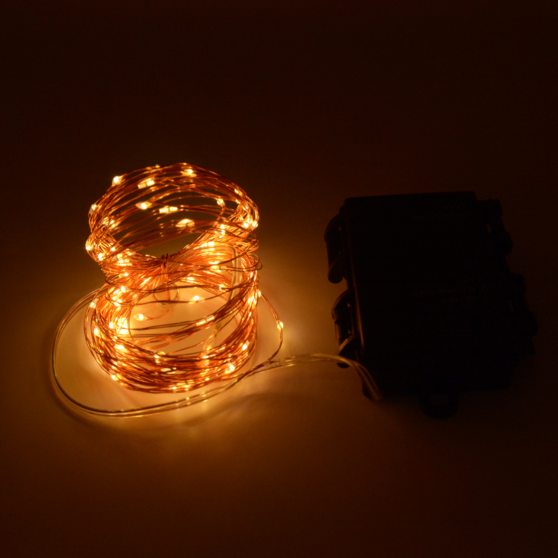 10m 100 Led 3aa Battery Powered Outdoor Timer Silver Color Copper Wire Fairy String Lights For Christmas Holiday And Party