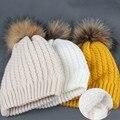 [Ода К Радости] Женщины зимняя шерсть шляпа женские трикотажные skullies шапочки шапка натуральный мех помпон шляпы твердые сплошные цвета новая мода