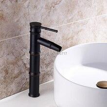 Single Hole Ceramic Classic Three Bamboo Bathroom Faucet Bathroom Antique  Copper Hot And Cold Basin Faucet