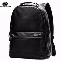 BISON DENIM High Quality Genuine Leather Large Backpack Men Bag Daypack Black Business Ipad Travel Backpacks