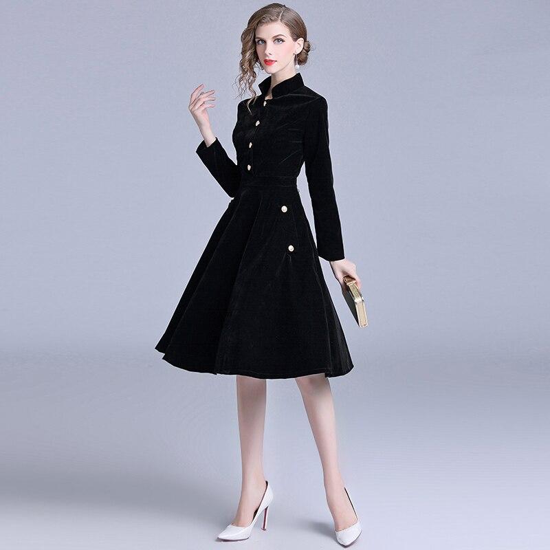 Robe Vintage velours noir bureau Robe manches longues hiver femmes robes nouveauté 2019 Midi Robe de soirée Zomer Jurk K307 - 3