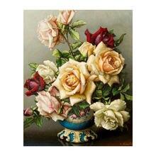 Diy 5d алмазная Картина Вышивка крестом Роза Цветочные Стразы