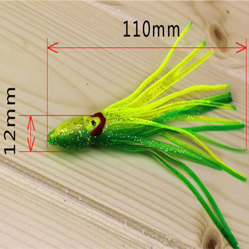 KKWEZVA 15pcs 11cm 3g fishing soft octopus lure squid jigs big game lure bait skirt Pesca Fishing Colorful Tube