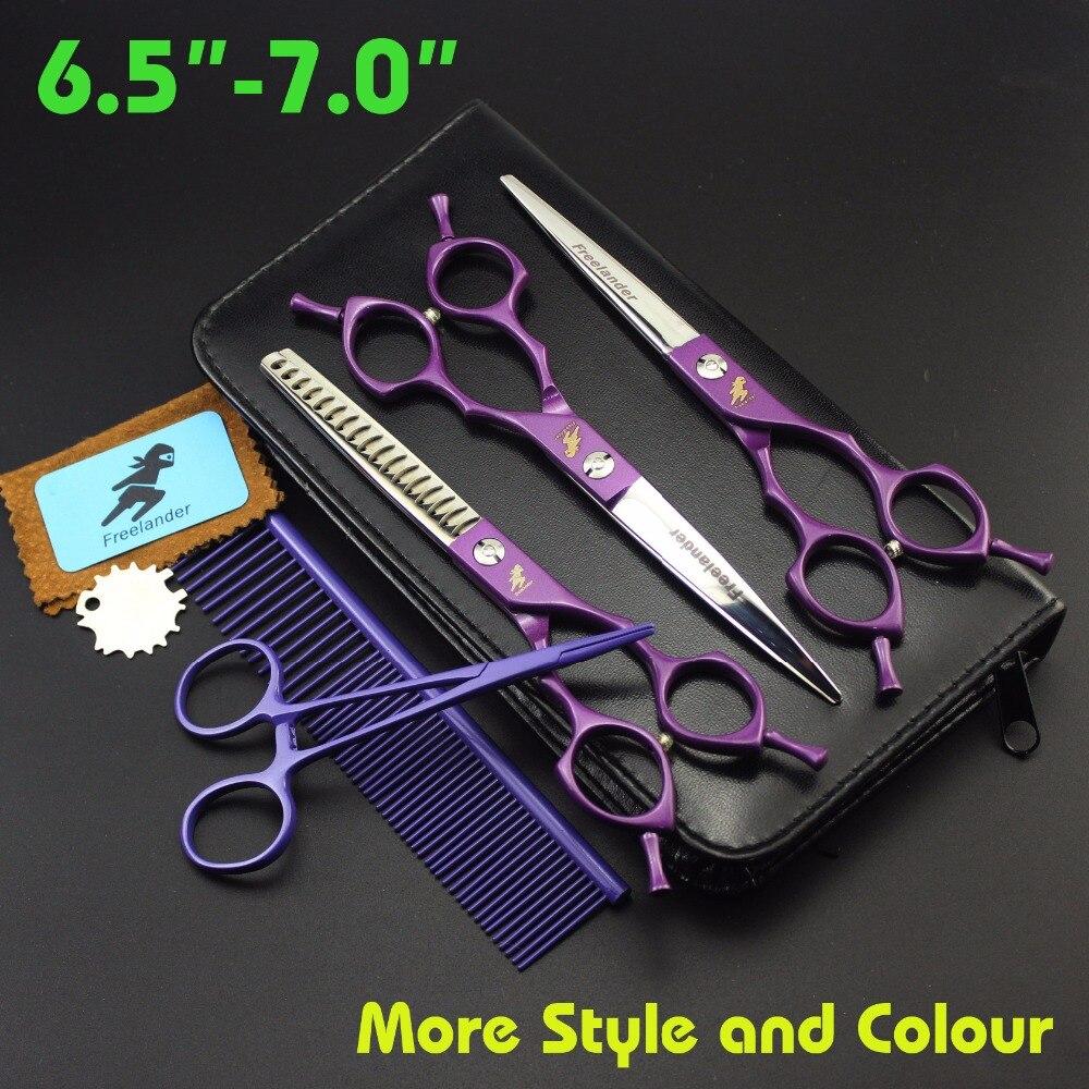 Freelander 6.5 pouces Professionnel POUR ANIMAUX DE COMPAGNIE Ciseaux Ensembles pour les soins de la peau de chien cheveux ciseaux Coupe + incurvé + amincissement 3 pcs. Ciseaux