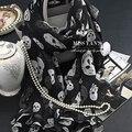 Подлинная Шелковые Шарф Женщин Моды Классический Черный Whtie Череп Печати Шарфы 2016 Весна Лето Зима Хорошее Качество Шаль