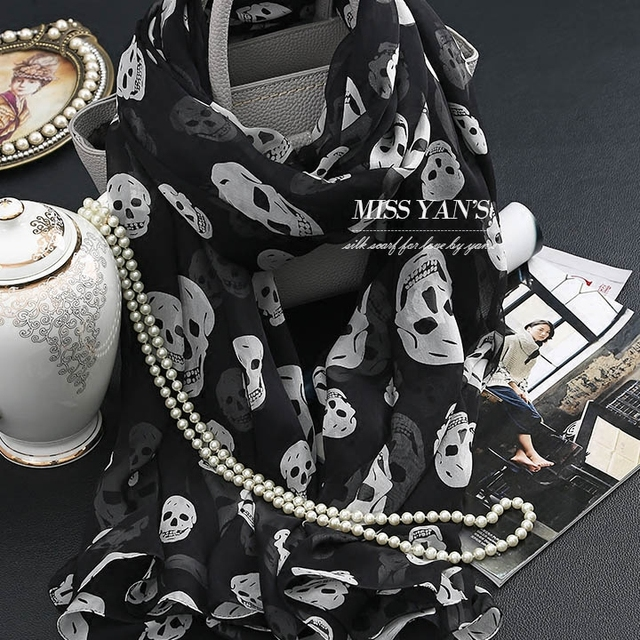 Genuine Silk Women Scarf Fashion Classic Black Whtie Skull Print Scarves 2016 Spring Summer Winter Good Quality Shawl