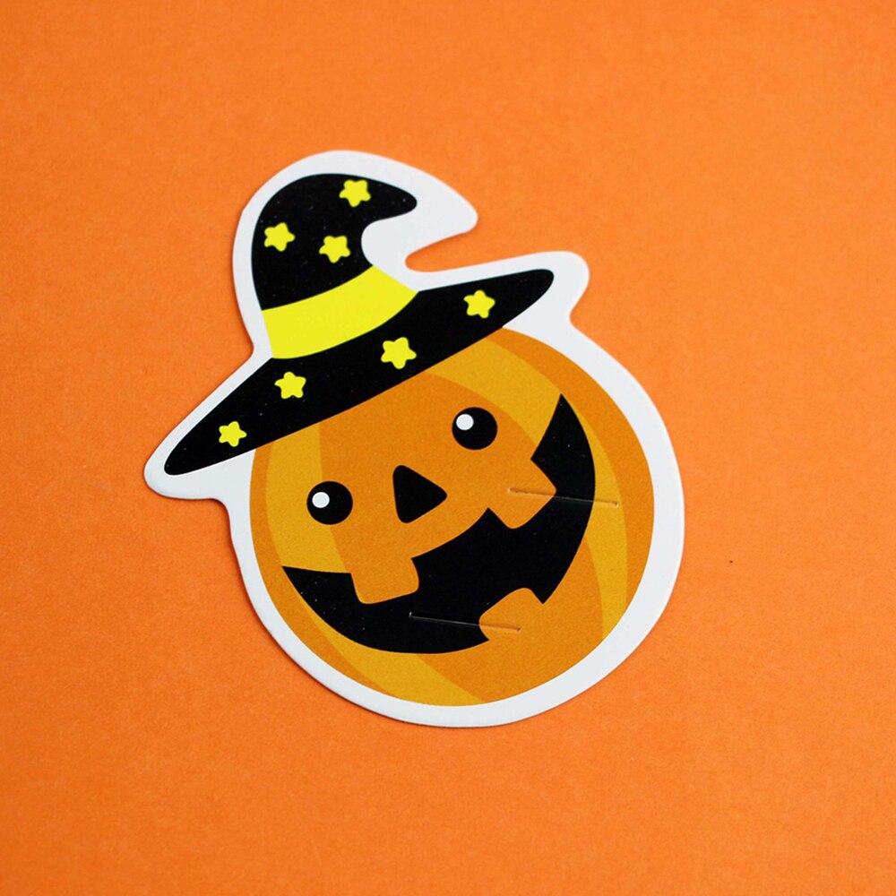cute 50pcs diy devil pumpkin candy decorations paper cards message