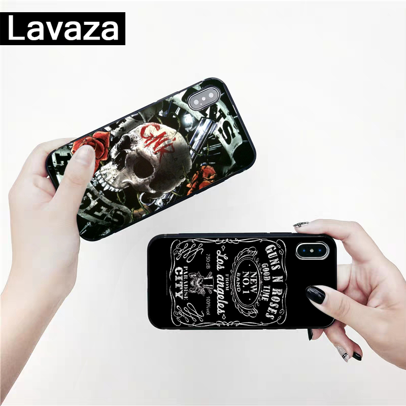 Lavaza Guns n roses Silicone Case for iPhone 5 5S 6 6S 7 8 11 Pro Plus X XR XS Max in Fitted Cases from Cellphones Telecommunications