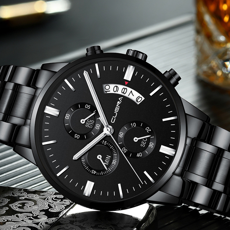 DROP SHIPPING Mens Watches Top Brand Luxury Chronograph Watch Men Quartz Steel Watches 2019 Black Male Watches Relogio Masculino
