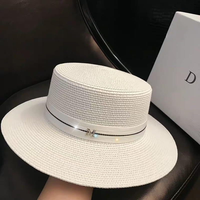 Women's Sun Hat Female Summer M Letter Straw Hat  Summer Visor Caps Ladies Sun Beach Hats