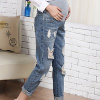 Nursing Pants Breastfeeding Ripped Jeans Trousers Women Summer for Feeding Maternity Pregnancy Clothes Plus Size 18Oct10
