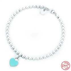 Heart Shaped Pendant Bracelet Tif Jewelry 925 Sterling Silver Pendant Charm Brand Tiff Design For Women Logo Fine Jewelry