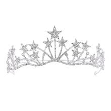 Baroque Luxury Silver Crystal Star Pearls Bridal Tiaras Crown Rhinestone Diadem Pageant Crowns Headband Wedding Hair Accessori