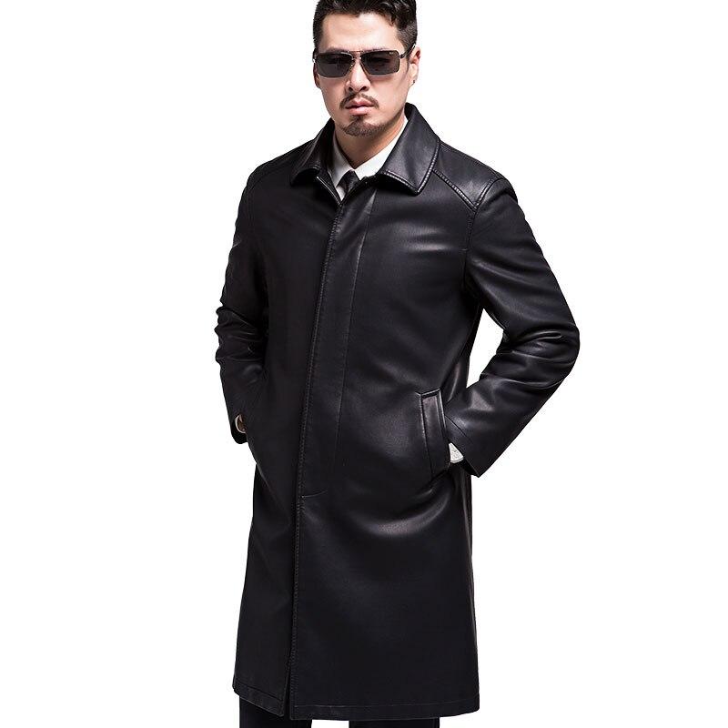 Schaffell Leder Jacke Echtes Leder Beste Verkäufer Leder Jacke Mantel Männlich Drehen-unten Kragen Herren Leder Jacken Und Mäntel Feines Handwerk