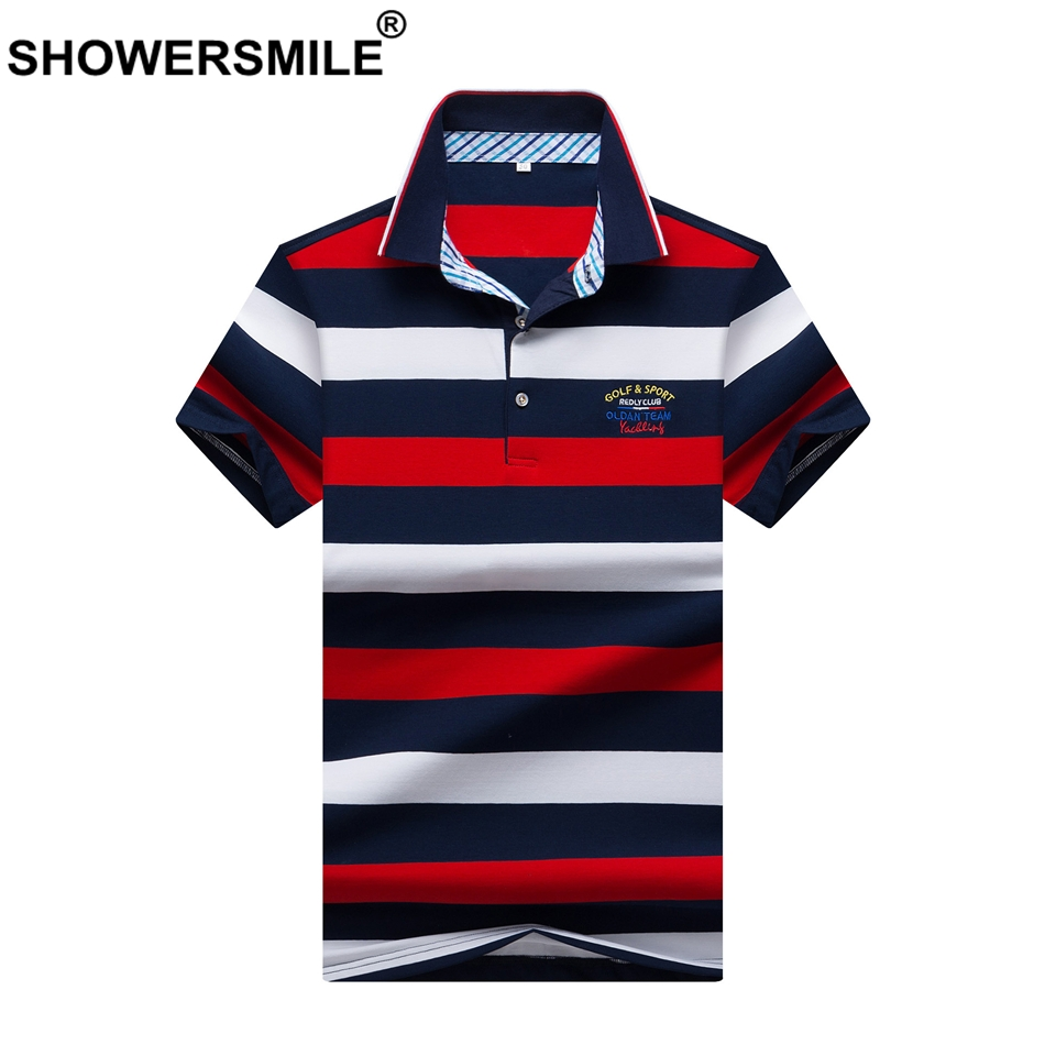 SHOWERSMILE Mens Shirt Polo T England Striped Tops Red White Cotton Short Sleeve Regular Summer Tee