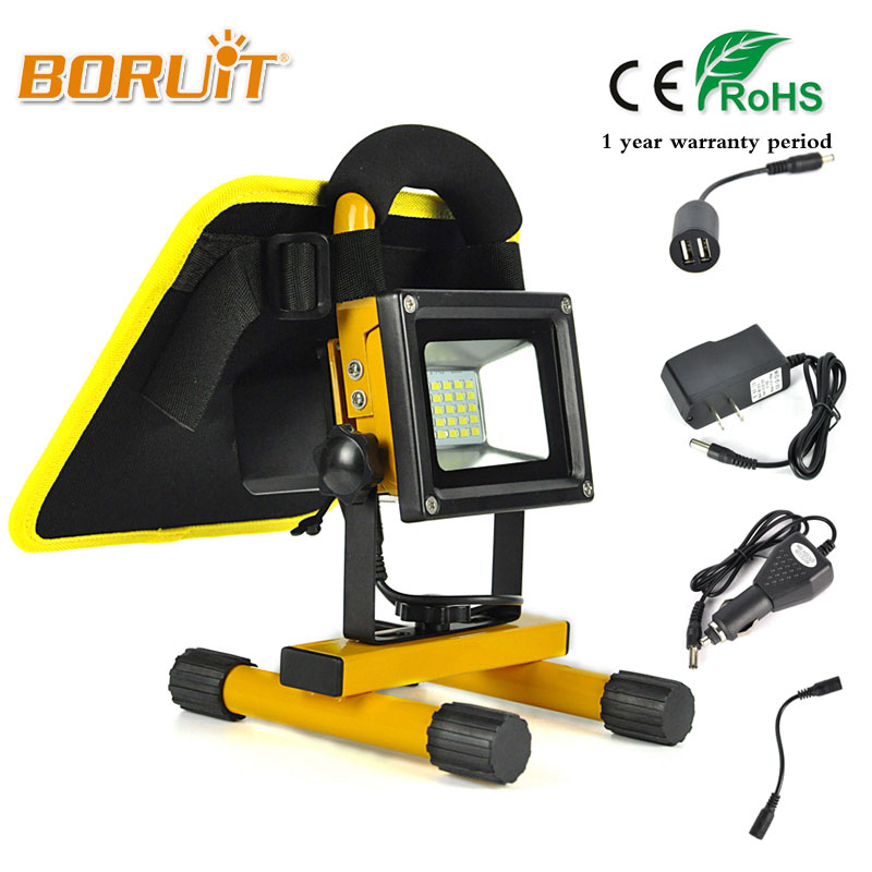 BORUIT 10W Solar Powered 20 LED Rechargeable Flood Light With Solar Panels USB Power Bank Spot Lamp Outdoor Multifunction Lights