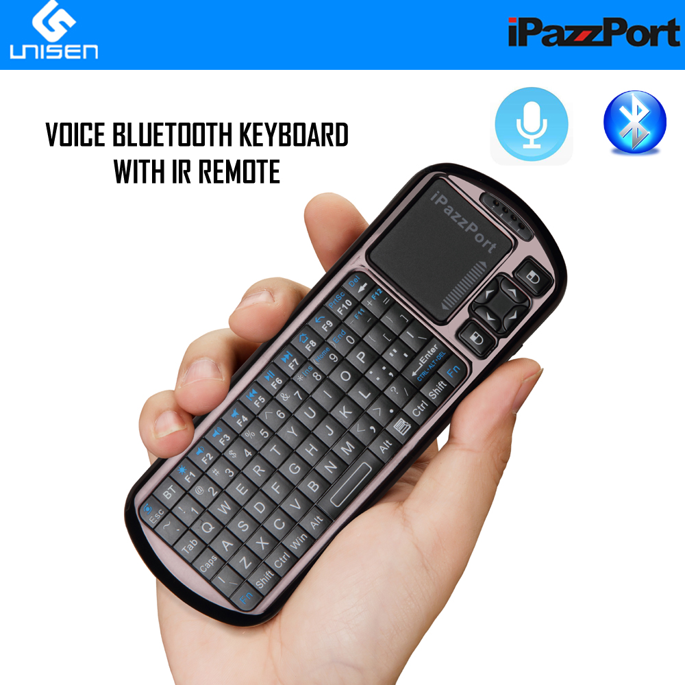 IPazzPort Mini Bluetooth Keyboard With Voice And IR Remote Control For IPad, IPhone, Android Tablet, Intel Compute Stick.