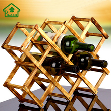 Classical Wooden Red Wine Rack Foldable 10 Bottle Holder Storage Rack Stand Kitchen Organizer Bar Display Shelf High Quality