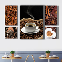 5pcs in 1 coffee kitchen food wall picture canvas art hanging MDF framed printing ready to hang for home decorative living room