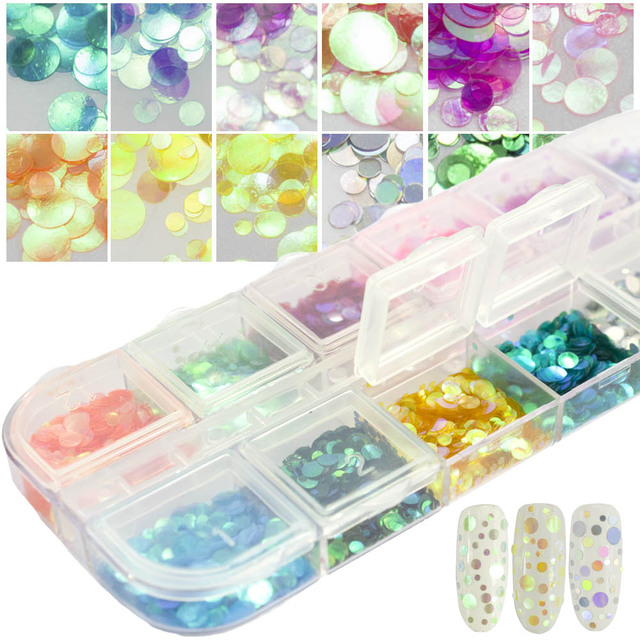 12 Color/Set 3D Mermaid Flakes Nail Sequins DIY Decor Semi-Transparent Colorful Round Paillette Manicure Nail Glitter CHPR01-12