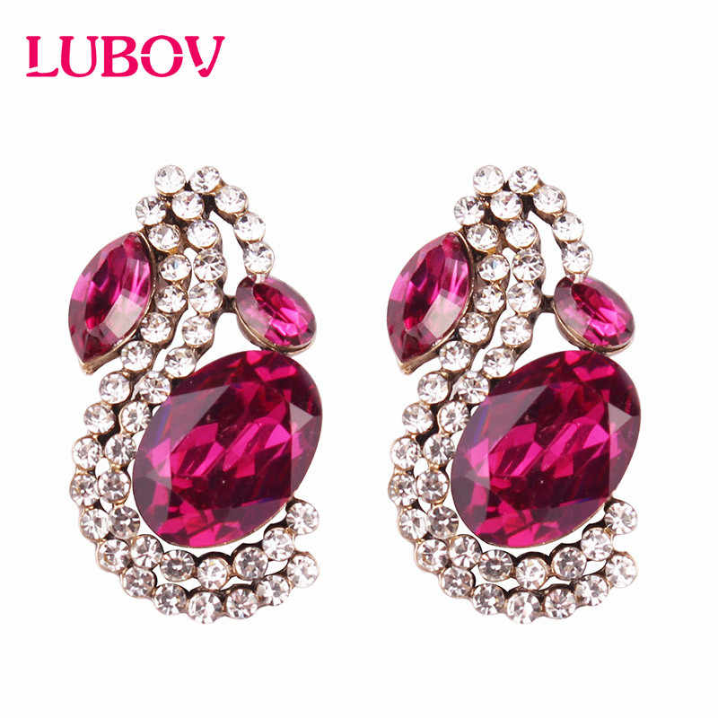 LUBOV Big Red Green Ellipse Crystal Rhinestone Stud Earrings 6 Colors Hot Sale Cheap Sexy Trendy Earring Femme Wholesale