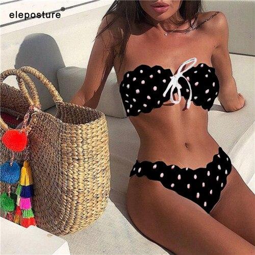 Sexy Polka Dot Bikini Women 2020 Two Piece Swimsuit Push Up Swimwear Floral Side Bathing Suit Brazilian Beach Wear Swimming Suit 5