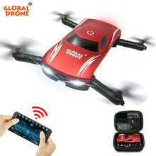 GLOBAL DRONE GW186 Foldable Mini Selfie Pocket RC Drone Voice Control  Altitude Hold Helicopter with HD FPV Camera Dron VS JY018