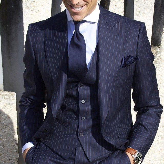 Latest Coat Pant Designs Navy Blue Stripe Men Suit Formal Pattern