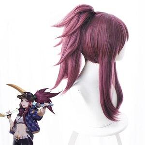 Image 3 - Парики для косплея LOL K/DA, Акали, 45 см, термостойкий фиолетовый парик из синтетических волос