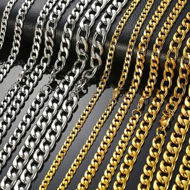 Men's Necklace Round Miami Cuban Link Chain Gold and Silver Tone Stainless Steel Punk Boy Male Colar Gifts 24″