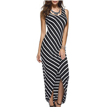 Ladies Sexy Striped sleeveless round neck slit Pencil dress Round Neck Maxi Dress Beach  summer new 2019 Casual Long
