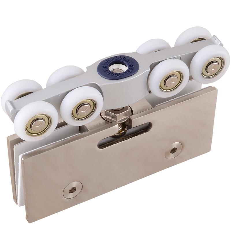 1set! durable stainless steel Slide Doors pulley shower door roller runner wheel hanging rail 8 wheels with silent Bearing