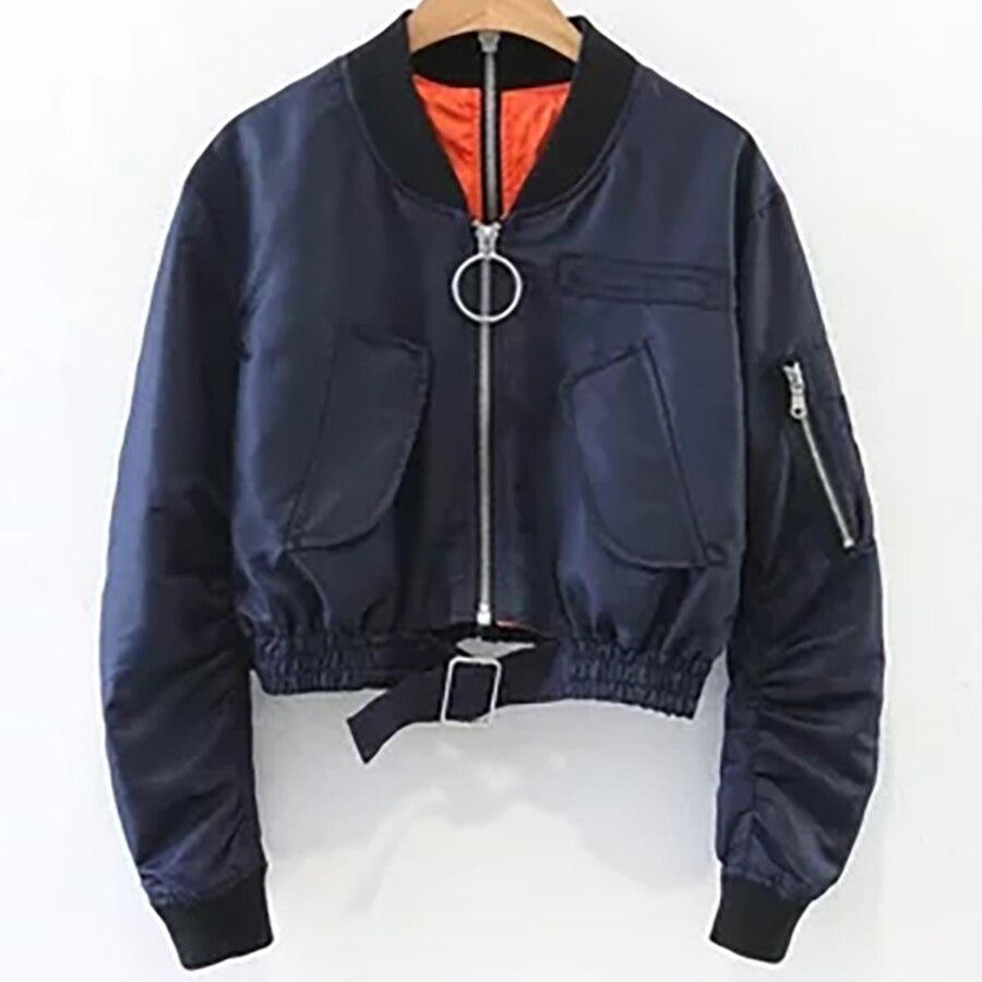 Bomber court veste femmes automne hiver tendances produits 2018 coupe-vent recadrée veste coréenne Style de rue manteau femmes 50B0065