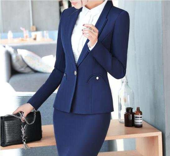 7d005bf41567f placeholder New fashion women pants suit winter elegant formal long sleeve  slim Interview blazer and pants office