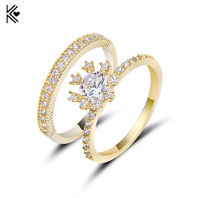 2018 Charming White Crystal Zircon Ring Sets Vintage Wedding Rings For Men  And Women Gold Filled