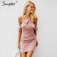 Simplee Strap Cold Shoulder Ruffle Winter Dress Women Sexy Backless Split Bodycon Dress Autumn Elegant Party
